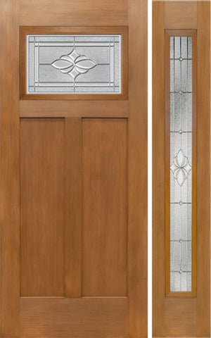WDMA 50x80 Door (4ft2in by 6ft8in) Exterior Fir Craftsman Top Lite Single Entry Door Sidelight HM Glass 1