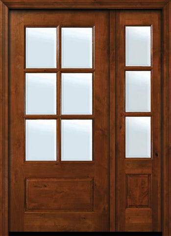 WDMA 50x80 Door (4ft2in by 6ft8in) Exterior Knotty Alder 36in x 80in 6 lite TDL Estancia Alder Door /1side w/Bevel IG 1