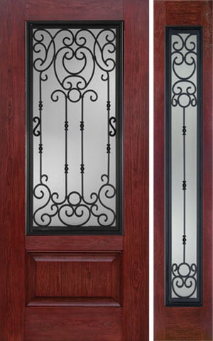 WDMA 50x80 Door (4ft2in by 6ft8in) Exterior Cherry 3/4 Lite 1 Panel Single Entry Door Sidelight BM Glass 1