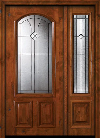 WDMA 50x80 Door (4ft2in by 6ft8in) Exterior Knotty Alder 36in x 80in Cantania Arch Lite Alder Door /1side 1