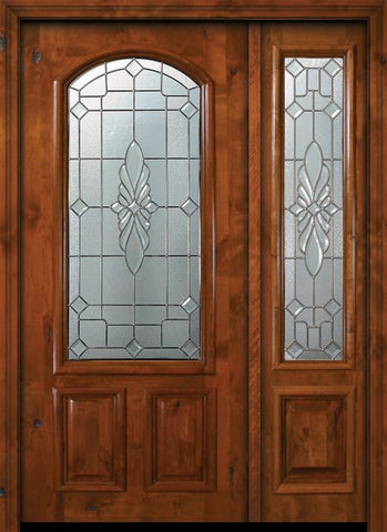 WDMA 50x80 Door (4ft2in by 6ft8in) Exterior Knotty Alder 36in x 80in Versailles Arch Lite Alder Door /1side 1