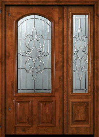WDMA 50x80 Door (4ft2in by 6ft8in) Exterior Knotty Alder 36in x 80in New Orleans Arch Lite Alder Door /1side 1