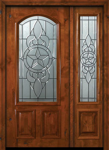 WDMA 50x80 Door (4ft2in by 6ft8in) Exterior Knotty Alder 36in x 80in Brazos Arch Lite Alder Door /1side 1