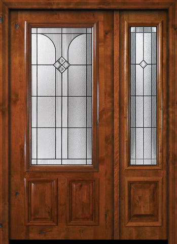 WDMA 50x80 Door (4ft2in by 6ft8in) Exterior Knotty Alder 36in x 80in 2/3 Lite Cantania Alder Door /1side 1