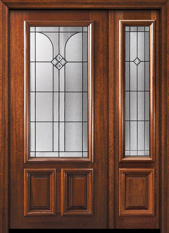 WDMA 50x80 Door (4ft2in by 6ft8in) Exterior Mahogany 36in x 80in 2/3 Lite Cantania Door /1side 1