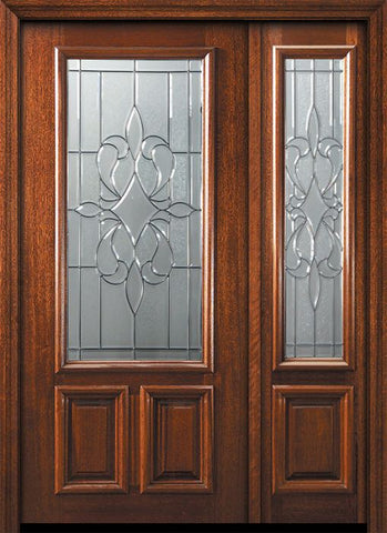 WDMA 50x80 Door (4ft2in by 6ft8in) Exterior Mahogany 36in x 80in 2/3 Lite New Orleans Door /1side 1