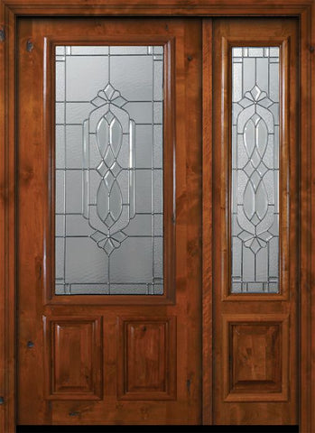 WDMA 50x80 Door (4ft2in by 6ft8in) Exterior Knotty Alder 36in x 80in 2/3 Lite Kensington Alder Door /1side 1