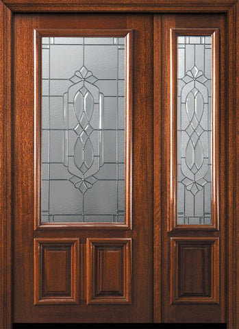 WDMA 50x80 Door (4ft2in by 6ft8in) Exterior Mahogany 36in x 80in 2/3 Lite Kensington Door /1side 1