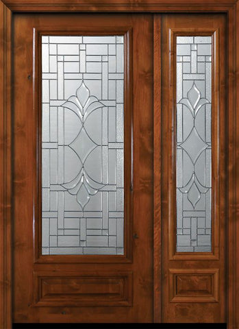 WDMA 50x80 Door (4ft2in by 6ft8in) Exterior Knotty Alder 36in x 80in 3/4 Lite Marsala Alder Door /1side 1