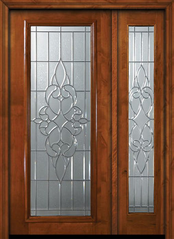WDMA 50x80 Door (4ft2in by 6ft8in) Exterior Knotty Alder 36in x 80in Full Lite Courtlandt Alder Door /1side 1