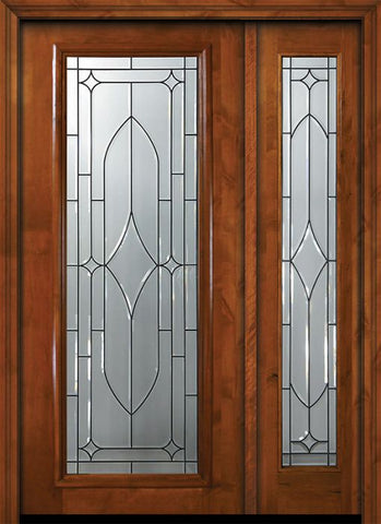 WDMA 50x80 Door (4ft2in by 6ft8in) Exterior Knotty Alder 36in x 80in Full Lite Bourbon Street Alder Door /1side 1