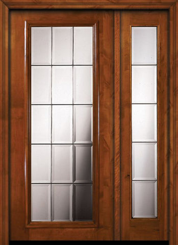 WDMA 50x80 Door (4ft2in by 6ft8in) Exterior Knotty Alder 36in x 80in Full Lite French Alder Door /1side 1
