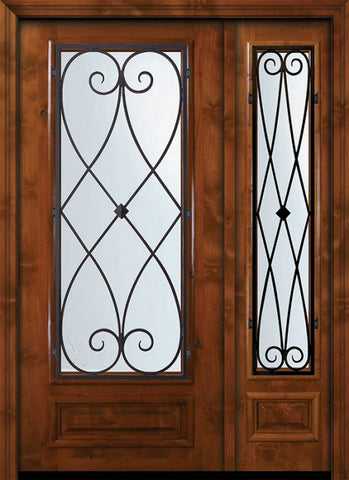 WDMA 50x80 Door (4ft2in by 6ft8in) Exterior Knotty Alder 36in x 80in 3/4 Lite Charleston Alder Door /1side 1