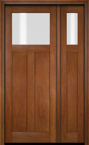 WDMA 51x80 Door (4ft3in by 6ft8in) Exterior Swing Mahogany Top Lite Craftsman Single Entry Door Sidelight 4