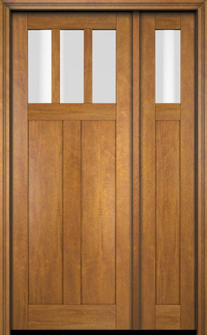 WDMA 51x80 Door (4ft3in by 6ft8in) Exterior Swing Mahogany 3 Horizontal Lite Craftsman Single Entry Door Sidelight 1