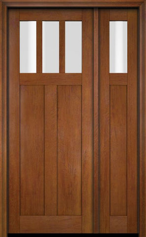 WDMA 51x80 Door (4ft3in by 6ft8in) Exterior Swing Mahogany 3 Horizontal Lite Craftsman Single Entry Door Sidelight 4