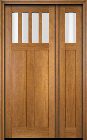 WDMA 51x80 Door (4ft3in by 6ft8in) Exterior Swing Mahogany 4 Horizontal Lite Craftsman Single Entry Door Sidelight 1