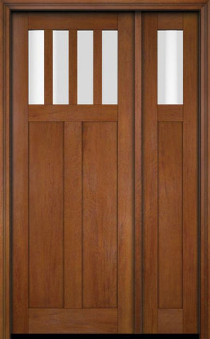 WDMA 51x80 Door (4ft3in by 6ft8in) Exterior Swing Mahogany 4 Horizontal Lite Craftsman Single Entry Door Sidelight 4