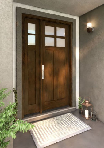 WDMA 51x80 Door (4ft3in by 6ft8in) Exterior Swing Mahogany 4 Lite Craftsman Single Entry Door Sidelight 1