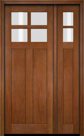 WDMA 51x80 Door (4ft3in by 6ft8in) Exterior Swing Mahogany 4 Lite Craftsman Single Entry Door Sidelight 6