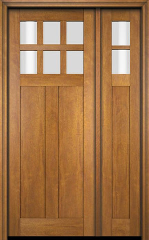 WDMA 51x80 Door (4ft3in by 6ft8in) Exterior Swing Mahogany 6 Lite Craftsman Single Entry Door Sidelight 1
