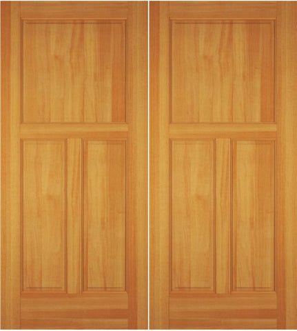WDMA 52x96 Door (4ft4in by 8ft) Exterior Swing Alder Wood 3 Panel Colonial Double Door 1