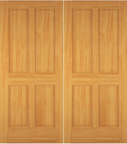 WDMA 52x96 Door (4ft4in by 8ft) Exterior Swing Maple Wood 4 Panel Colonial Double Door 1