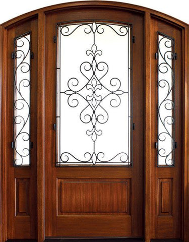WDMA 52x96 Door (4ft4in by 8ft) Exterior Mahogany Gilford Single/2Sidelight Arch Top Trinity 1