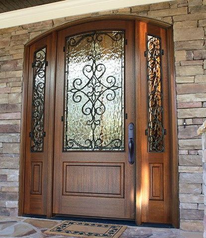 WDMA 52x96 Door (4ft4in by 8ft) Exterior Mahogany Gilford Single/2Sidelight Arch Top Trinity 2