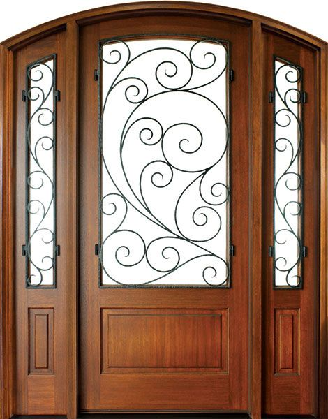 WDMA 52x96 Door (4ft4in by 8ft) Exterior Mahogany Burlwood Single/2Sidelight Arch Top Trinity 1