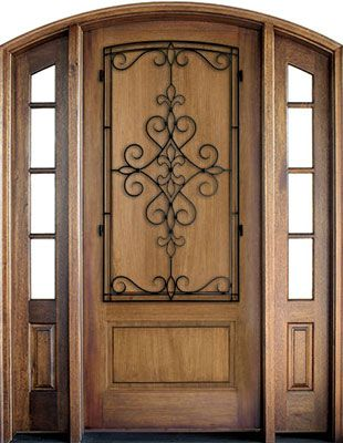 WDMA 52x96 Door (4ft4in by 8ft) Exterior Mahogany Trinity Solid Panel Single/2 TDL/SDL Sidelight Arch Top w Gilford Iron 1