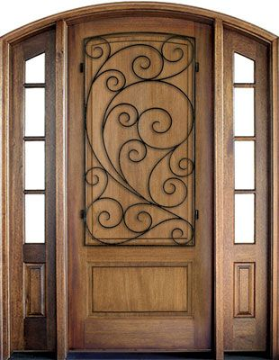 WDMA 52x96 Door (4ft4in by 8ft) Exterior Mahogany Trinity Solid Panel Single/2 TDL/SDL Sidelight Arch Top w Burlwood Iron 1