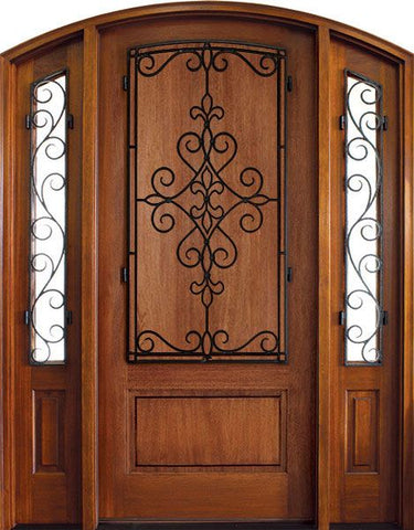 WDMA 52x96 Door (4ft4in by 8ft) Exterior Mahogany Trinity Solid Panel Single/2 Iron Sidelight Arch Top w Gilford Iron 1
