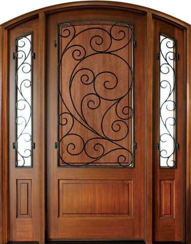 WDMA 52x96 Door (4ft4in by 8ft) Exterior Mahogany Trinity Solid Panel Single/2 Iron Sidelight Arch Top w Burlwood Iron 1