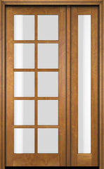 WDMA 52x96 Door (4ft4in by 8ft) Exterior Swing Mahogany 10 Lite TDL Single Entry Door Full Sidelight 1