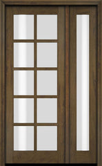 WDMA 52x96 Door (4ft4in by 8ft) Exterior Swing Mahogany 10 Lite TDL Single Entry Door Full Sidelight 3
