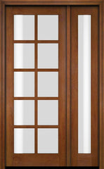 WDMA 52x96 Door (4ft4in by 8ft) Exterior Swing Mahogany 10 Lite TDL Single Entry Door Full Sidelight 4