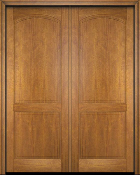 WDMA 52x96 Door (4ft4in by 8ft) Exterior Barn Mahogany 2 Raised Arch Panel Solid or Interior Double Door 1