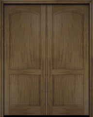 WDMA 52x96 Door (4ft4in by 8ft) Exterior Barn Mahogany 2 Raised Arch Panel Solid or Interior Double Door 3