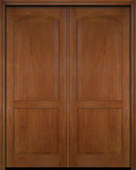 WDMA 52x96 Door (4ft4in by 8ft) Exterior Barn Mahogany 2 Raised Arch Panel Solid or Interior Double Door 4