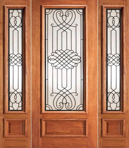 WDMA 52x96 Door (4ft4in by 8ft) Exterior Mahogany Designer Iron Scrollwork Glass Door Two Sidelight 1