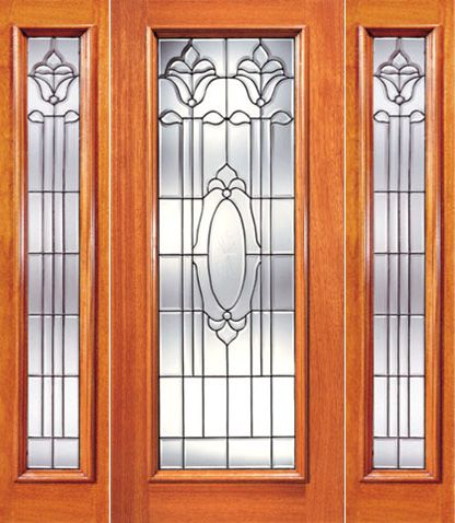WDMA 52x96 Door (4ft4in by 8ft) Exterior Mahogany Single Door with Two Sidelight Full Lite Twin Flower Design Glass 1