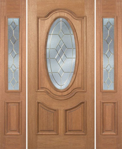 WDMA 54x80 Door (4ft6in by 6ft8in) Exterior Mahogany Carmel Single Door/2side w/ A Glass - 6ft8in Tall 1