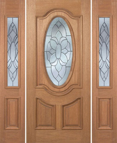 WDMA 54x80 Door (4ft6in by 6ft8in) Exterior Mahogany Carmel Single Door/2side w/ BO Glass - 6ft8in Tall 1