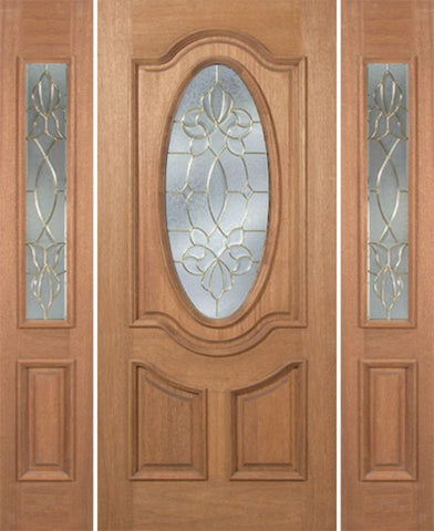 WDMA 54x80 Door (4ft6in by 6ft8in) Exterior Mahogany Carmel Single Door/2side w/ CO Glass - 6ft8in Tall 1