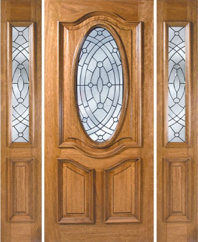 WDMA 54x80 Door (4ft6in by 6ft8in) Exterior Mahogany La Jolla Single Door/2side w/ EE Glass 1
