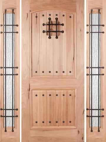 WDMA 54x80 Door (4ft6in by 6ft8in) Exterior Walnut Rustica Single Door/2side Rain Glass and Cage with Speakeasy 1