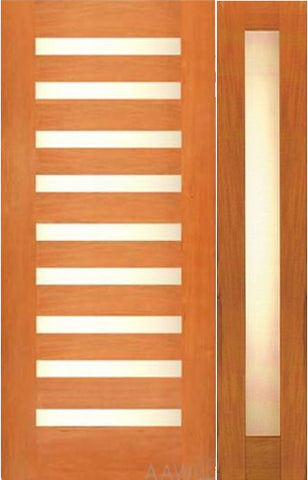 WDMA 54x80 Door (4ft6in by 6ft8in) Exterior Mahogany Contemporary Single Door with one Sidelights Laminated Glass 1