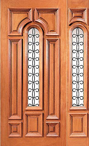 WDMA 54x80 Door (4ft6in by 6ft8in) Exterior Mahogany Insulated Center Lite House Door One Sidelight 1