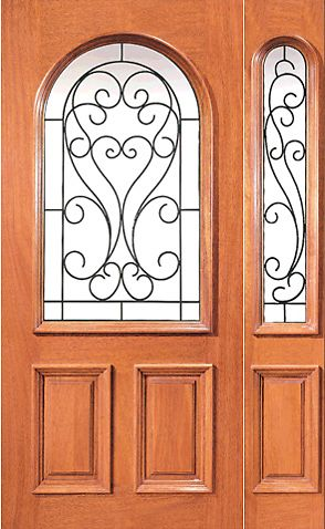 WDMA 54x80 Door (4ft6in by 6ft8in) Exterior Mahogany Radius Lite Front Door One Sidelight Ironwork 1